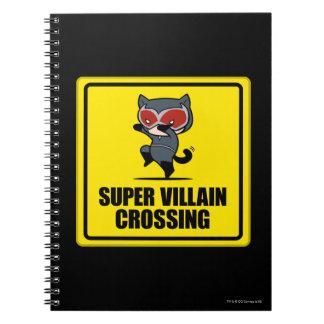 Chibi Catwoman Super Villain Crossing Sign Spiral Notebook