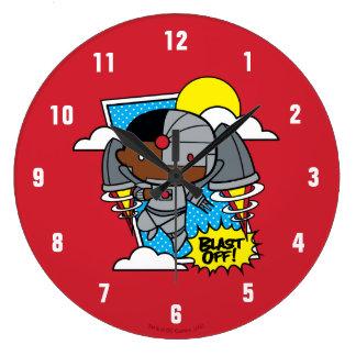 Chibi Cyborg Blast Off! Large Clock