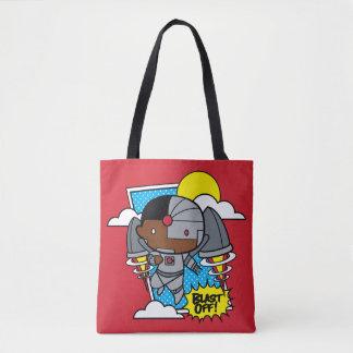 Chibi Cyborg Blast Off! Tote Bag
