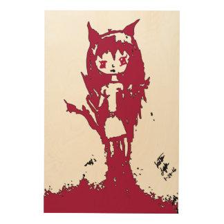 Chibi Demon on wood by Reddawolf Wood Print