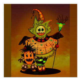 CHIBI DOLLS HALLOWEEN CUTE MONSTERS PERFECT POSTER