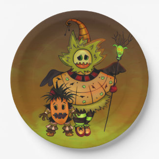 CHIBI DOLLS HALLOWEEN PAPER PLATE 9 inches MONSTER