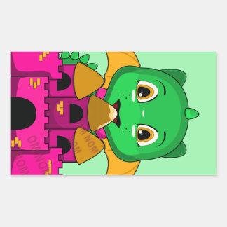 Chibi Dragon With An Orange And Pink Castle Rectangular Sticker