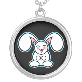 Chibi Easter Bunny Round Pendant Necklace