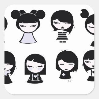 Chibi Emo Goth Square Sticker