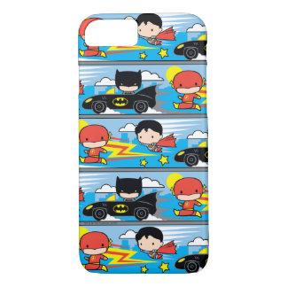 Chibi Flash, Superman, and Batman Racing Pattern iPhone 7 Case