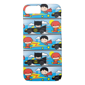 Chibi Flash, Superman, and Batman Racing Pattern iPhone 8/7 Case