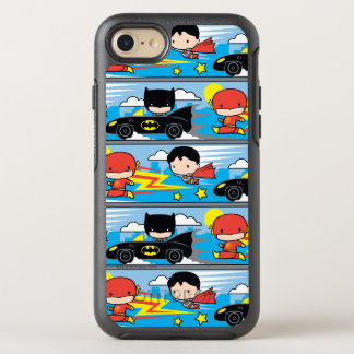 Chibi Flash, Superman, and Batman Racing Pattern OtterBox Symmetry iPhone 8/7 Case