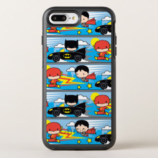 Chibi Flash, Superman, and Batman Racing Pattern OtterBox Symmetry iPhone 8 Plus/7 Plus Case