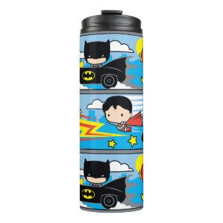 Chibi Flash, Superman, and Batman Racing Pattern Thermal Tumbler