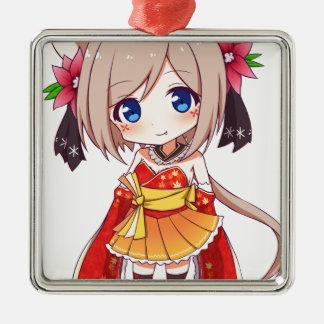 Chibi Fox Girl Metal Ornament