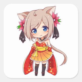Chibi Fox Girl Square Sticker