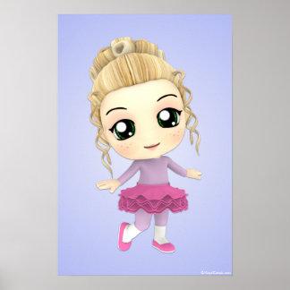 Chibi Girl Ballet Dancer Poster