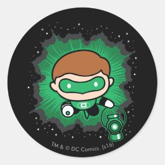 Chibi Green Lantern Flying Through Space Classic Round Sticker