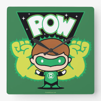 Chibi Green Lantern Forming Giant Fists Square Wall Clock