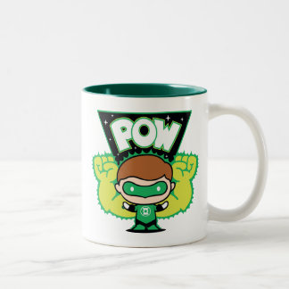 Chibi Green Lantern Forming Giant Fists Two-Tone Coffee Mug