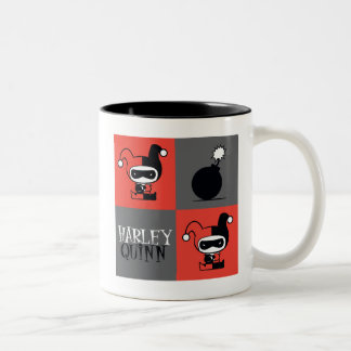 Chibi Harley Quinn Checker Pattern Two-Tone Coffee Mug