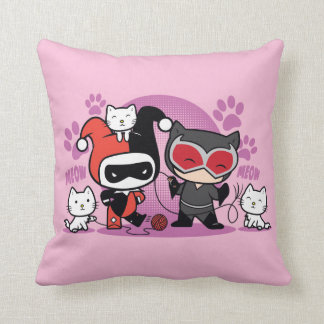 Chibi Harley Quinn & Chibi Catwoman With Cats Cushion