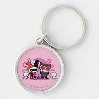 Chibi Harley Quinn & Chibi Catwoman With Cats Key Ring