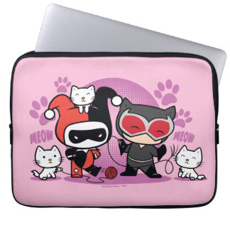 Chibi Harley Quinn & Chibi Catwoman With Cats Laptop Sleeve