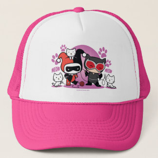 Chibi Harley Quinn & Chibi Catwoman With Cats Trucker Hat