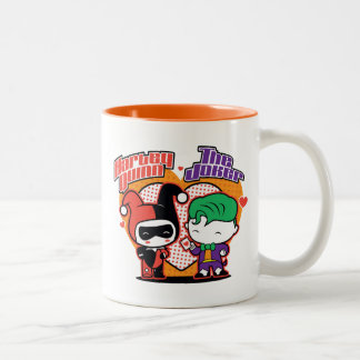 Chibi Harley Quinn & Chibi Joker Hearts Two-Tone Coffee Mug