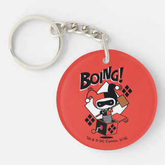 Chibi Harley-Quinn-In-A-Box With Hammer Double-Sided Round Acrylic Key Ring