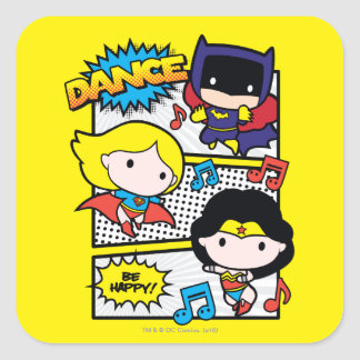 Chibi Heroes Dancing Square Sticker