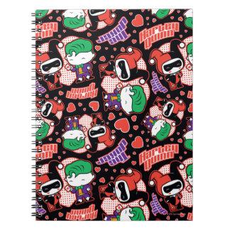 Chibi Joker and Harley Heart Pattern Notebook