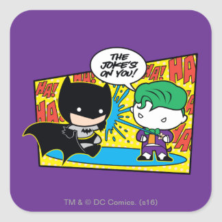 Chibi Joker Pranking Chibi Batman Square Sticker