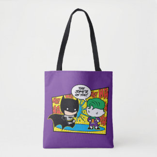 Chibi Joker Pranking Chibi Batman Tote Bag