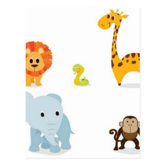 Chibi Jungle Animals design Postcard