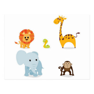 Chibi Jungle Animals design Postcard