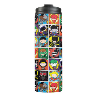 Chibi Justice League Character Pattern Thermal Tumbler