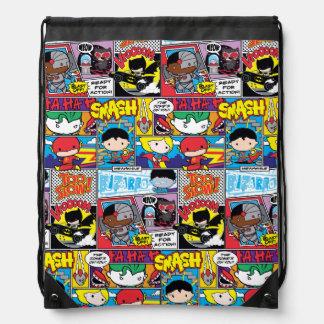 Chibi Justice League Comic Book Pattern Drawstring Bag