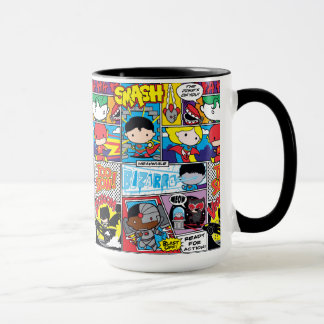 Chibi Justice League Comic Book Pattern Mug