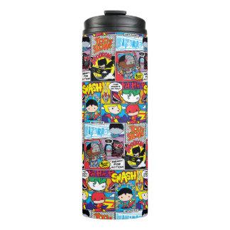 Chibi Justice League Comic Book Pattern Thermal Tumbler