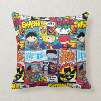Chibi Justice League Comic Book Pattern Throw Pillow