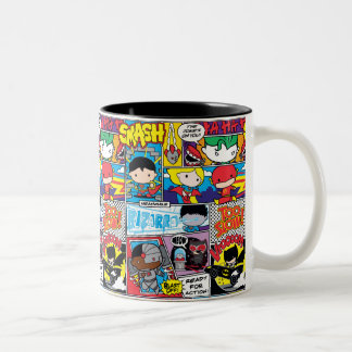 Chibi Justice League Comic Book Pattern Two-Tone Coffee Mug