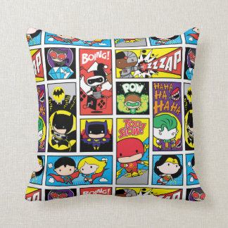 Chibi Justice League Compilation Pattern Throw Pillow
