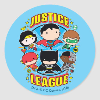 Chibi Justice League Group Classic Round Sticker