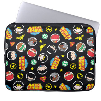 Chibi Justice League Heroes and Logos Pattern Laptop Sleeve
