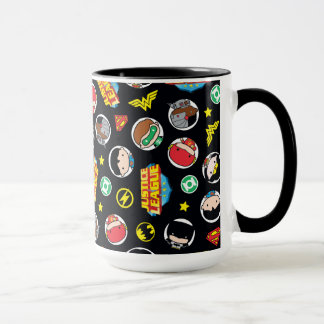 Chibi Justice League Heroes and Logos Pattern Mug