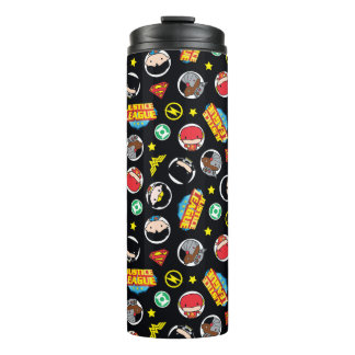 Chibi Justice League Heroes and Logos Pattern Thermal Tumbler