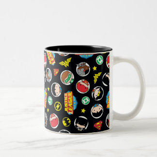 Chibi Justice League Heroes and Logos Pattern Two-Tone Coffee Mug