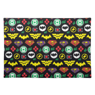 Chibi Justice League Logo Pattern Placemat
