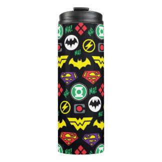 Chibi Justice League Logo Pattern Thermal Tumbler