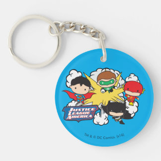 Chibi Justice League of America Explosion Double-Sided Round Acrylic Key Ring