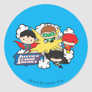 Chibi Justice League of America Explosion Round Sticker