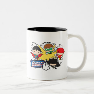 Chibi Justice League of America Explosion Two-Tone Coffee Mug